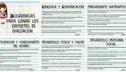 SUGERENCIAS PARA RELLENAR REPORTES DE EVALUACION PREESCOLAR