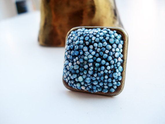 Sea square ooak polystyrene rectangle adjustable ring in by Joogr, €16.00