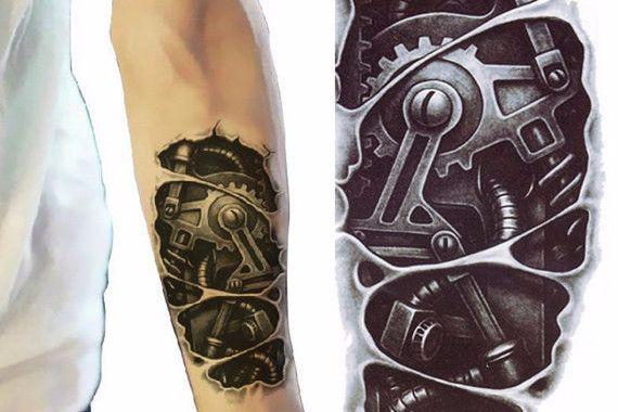 Bionic Robot Temporary Tattoo Sleeve, Tattoo Sleeve, Arm Tattoo, Arm Sleeve, Mens Tattoos, Womens Tattoos,Biomechanical Tribal Future Design