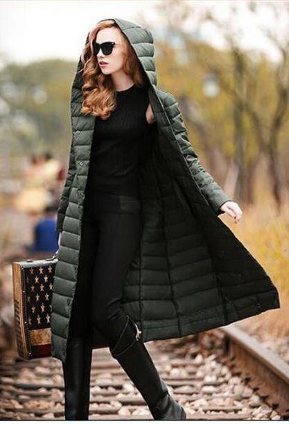 2015 Light grey Black Green Red Winter Jacket Fashion Women Long Down Coat Big Size Parka Mujer Ladies Hooded Warm Outerwear