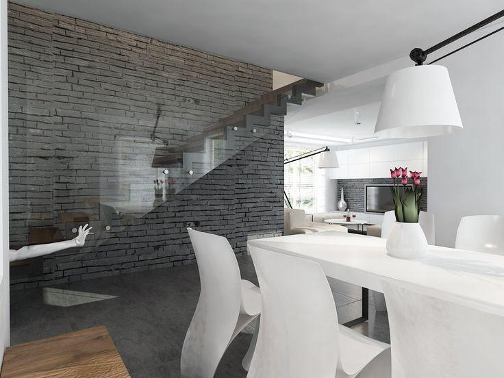 Wnętrza, Nowoczesne wnętrza - Projekt części dziennej domu w Warszawie.
