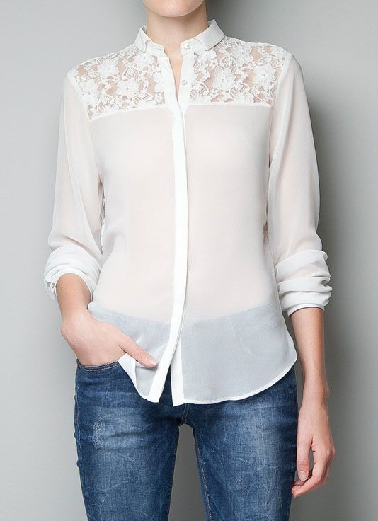 White Long Sleeve Contrast Hollow Lace Blouse US$25.65