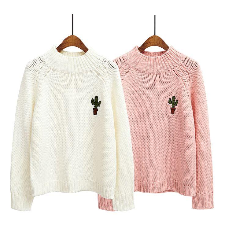 Harajuku 2015 nuevas mujeres coreanas del invierno suéter bordado suéter de la navidad cactus de la historieta mujeres suéteres y jerseys en Jerseys de Moda y Complementos Mujer en AliExpress.com | Alibaba Group