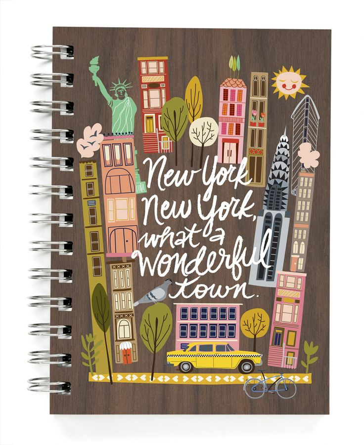 "JOURNALS & NOTEBOOKS :: 5x7"" journals :: New York, New York: What a wonderful town! - Ecojot - eco savvy paper products"