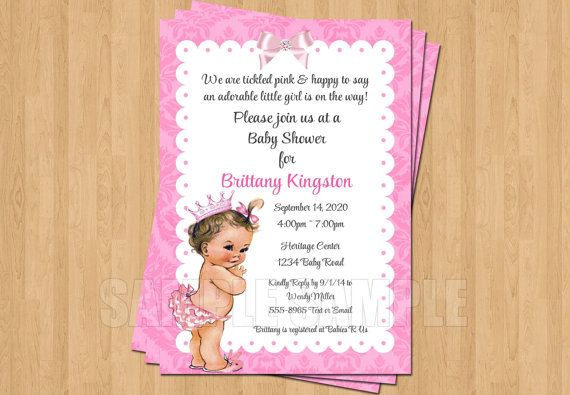 Vintage Pink Baby Girl Princess Baby Shower Invitations JPEG Cute Unique Sweet