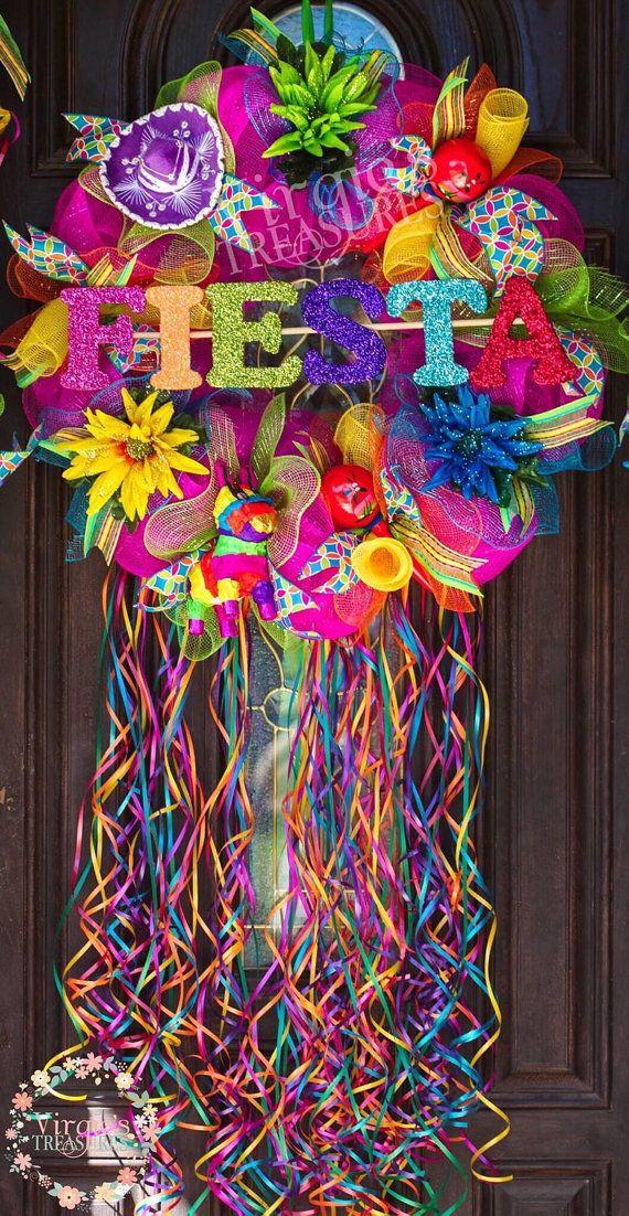 Fiesta Deco Mesh Wreath, Glitter Fiesta Letter Wreath, Deluxe Fiesta Wreath, Fiesta Theme Party Decor, Housewarming, Cinco De Mayo Wreath