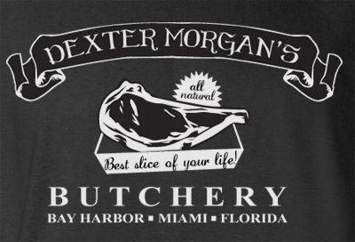Humor Novelty Dexter Morgan Butcher Shop Miami Florida Bay Harbor T-Shirt