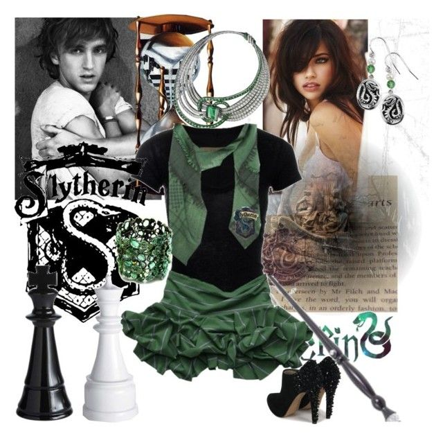 Slytherin Queen by cassandra-francesca on Polyvore featuring polyvore, fashion, style, Sam Edelman, Fantasy Jewelry Box, Ileana Makri, Clef de Sol, Victoria's Secret and clothing