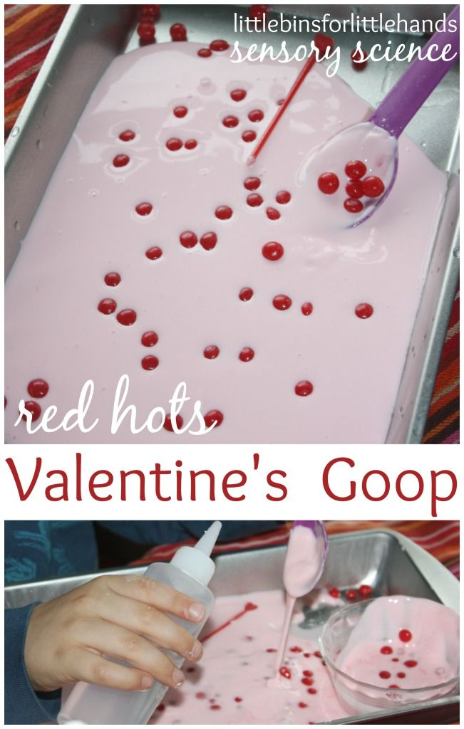 Valentines Goop with red hots candy for a Valentine's Day science activity. Goop is also oobleck and great kitchen science. A fun Valentine's Day sensory activity for early learning.