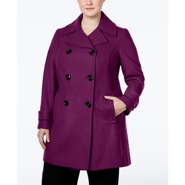 Anne Klein Plus Size Double-Breasted Peacoat (280 AUD) ❤ liked on Polyvore featuring plus size women's fashion, plus size clothing, plus size outerwear, plus size coats, magenta, plus size peacoat, purple peacoat, womens plus coats and double breasted coat