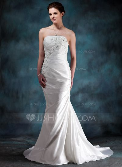 Wedding Dresses - $172.99 - Mermaid Strapless Court Train Taffeta Wedding Dress With Ruffle Lace Beadwork (002000494) http://jjshouse.com/Mermaid-Strapless-Court-Train-Taffeta-Wedding-Dress-With-Ruffle-Lace-Beadwork-002000494-g494
