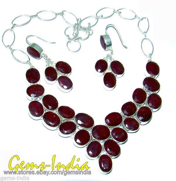 415 CT 83+g RUBY.925 STAMPED SILVER NECKLACE W 125.70 CT/25+G EARRINGS JEWELRY
