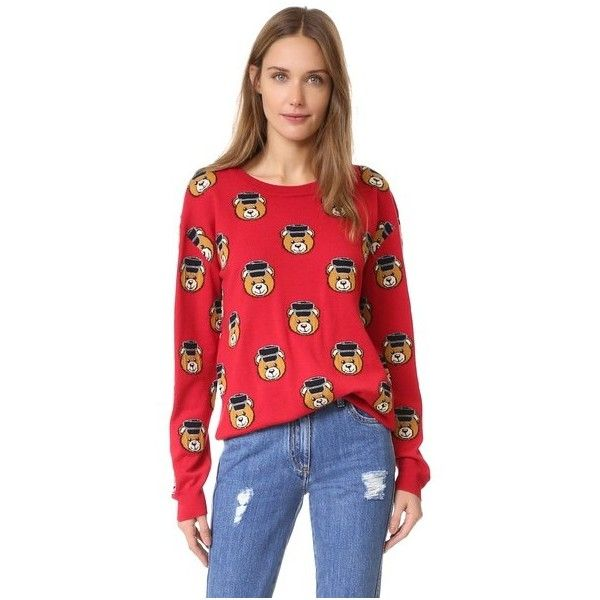 Moschino Bear Sweater (915 CAD) ❤ liked on Polyvore featuring tops, sweaters, red, slouchy tops, teddy bear sweater, red sweater, slouch sweater and bear sweater