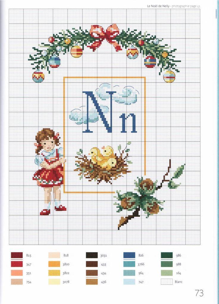 point de croix grille et couleurs de fils abecedaire enfants, lettre n