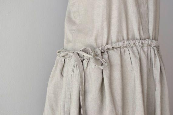 vintage sack dress / linen dress / Oyster tent dress