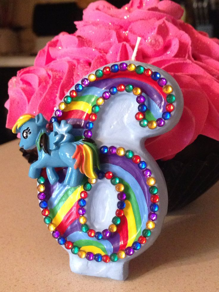 3 inch blingy Rainbow Dash birthday candle  any by SweetPeaCandles, $10.00