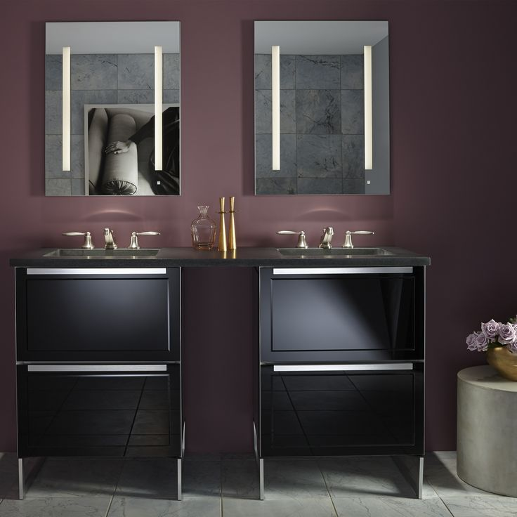 """Adorn II 24-1/4"""" x 34-3/4"""" x 21"""" double drawer vanity in black on black with slow-close plumbing drawer and full storage drawer, center mount sink, legs in brushed aluminum and night light and AiO 23-1/4"""" x 30"""" x 4"""" single door cabinet in anodized aluminum interior (silver) with left and right hinge, dimmable LED lighting, interior lighting, electrical and USB outlets and magnetic storage strip"""
