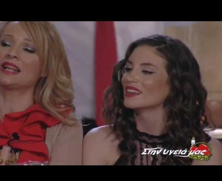 "actress Athina Oikonomakou wears ""Christina Skarpeli"" vintage-lace dress on greek tv show ""Stin ugeia mas""  http://christinaskarpeli.blogspot.com/2012/04/net.html?spref=fb"