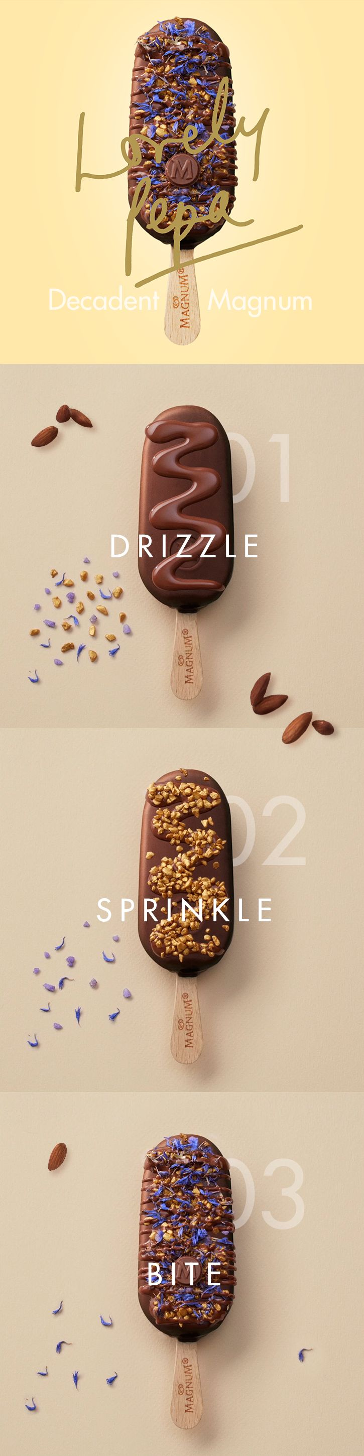 Subtlety is key to globetrotting stylist Alexandra Pereira's dream Magnum. Decorate your Magnum with understated yet rich combos, like crystallized violet and golden-hued nuts, covered with thick milk chocolate sauce.     Head over to http://www.magnumicecream.com/us/en/lovely-pepa-dream-magnum.html for the full recipe.