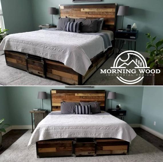Industrial Reclaimed Wood Platform Storage Bed Rustic Bedroom