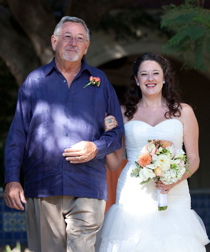 Father Of The Bride In Navy Guayabera At Outdoor Wedding FOTB Is Wearing A Debra Torres Available Debratorres Fatherofthebr