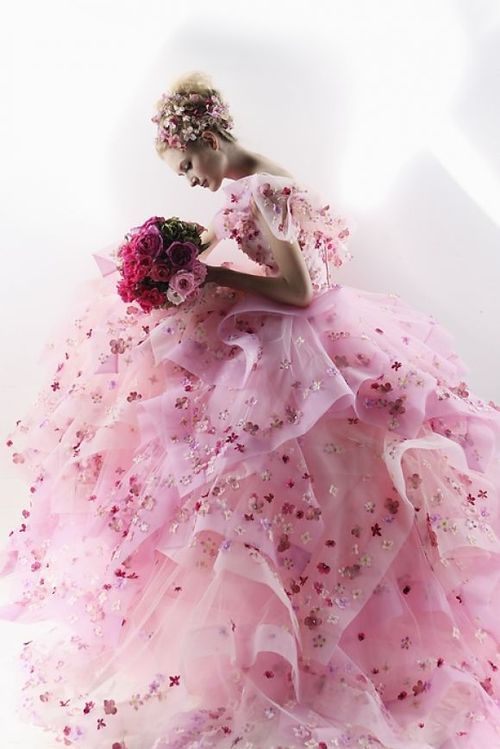 Beyond beautiful!  Princess pink ball gown.  Layer of tulle with sparkling flowers appliques.