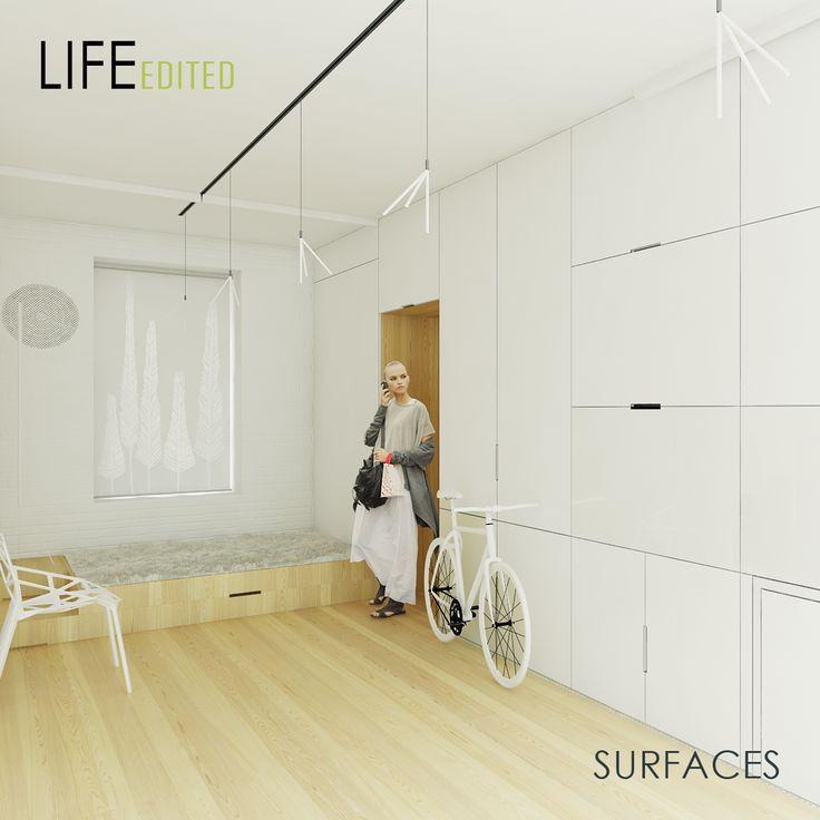 """Gorlov.com.ua, """"SURFACES"""" - интересные решения:  1) кухня за зеркальной стеной,  2) подиум-кровать при входе с системой хранения велика и обуви,  3) выдвижной столик для мелкого ремонта http://life-edited.jovoto.com/ideas/10252"""