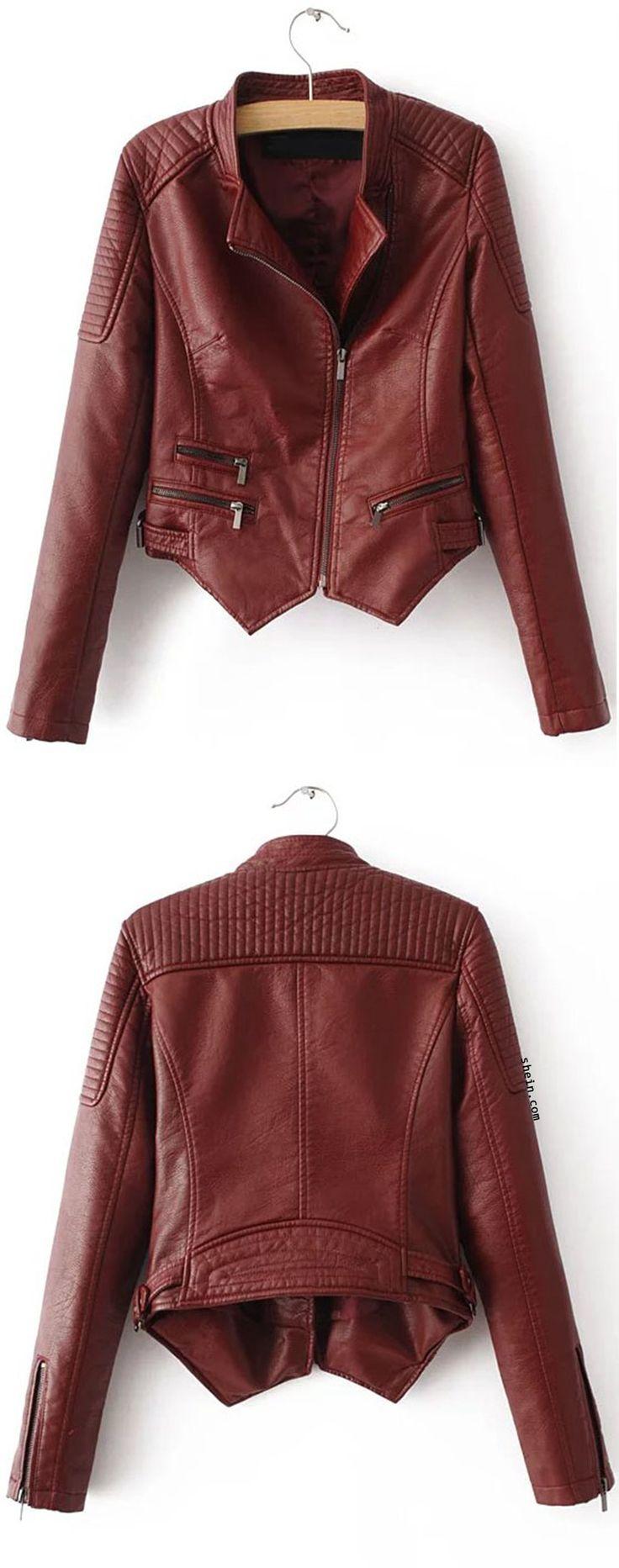Red Oblique Zipper Asymmetrical Crop PU Jacket. By shein