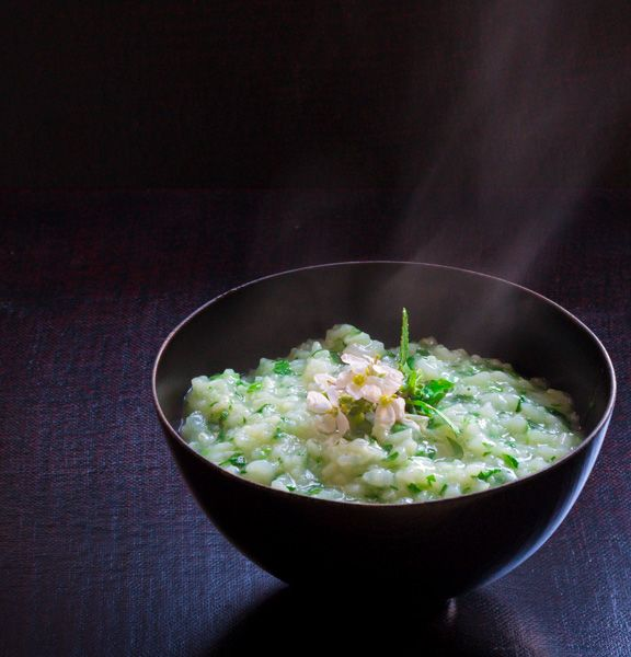 Seven-herb Rice Soup (Nanakusa Gayu). A traditional Japanese meal for ...