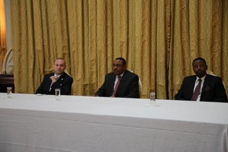 H.E. ECTT President – Professor Dr. Anton Caragea, Minister of Culture and Tourism – Amin Abdulkadir, H.E. Prime Minister – Academician Hailemariam Desalegn, are directing the proceedings for World Tourism Awards Ceremony for 2015.