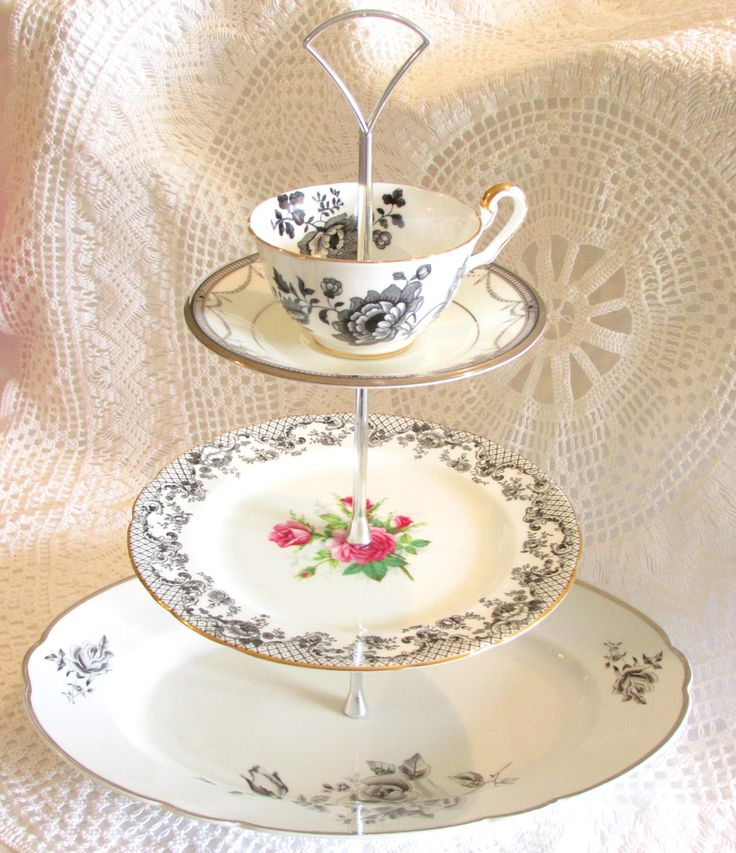 Black & White with Pink Roses 3-Tiered Tea Party Stand with Vintage China Cake Plate Tray with Cup Teacup and Saucer, Wedding Cupcake Tower Dessert Table Display Candy Bar Pedestal By High Tea for Alice by HighTeaForAlice on Etsy