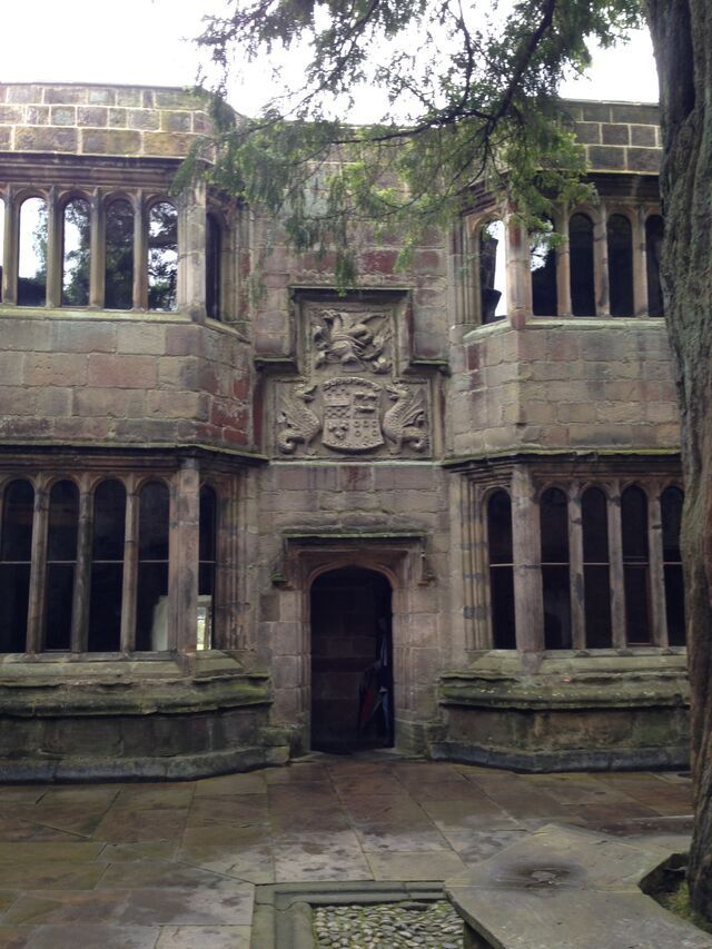 Another view of the courtyard at Skipton castle, this one with a ghost in the window.