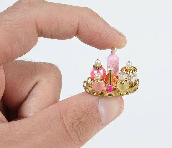 miniature dollhouse accessories from buttons | Dollhouse Miniature Vanity Tray - Bath Miniatures - Dollhouse ...