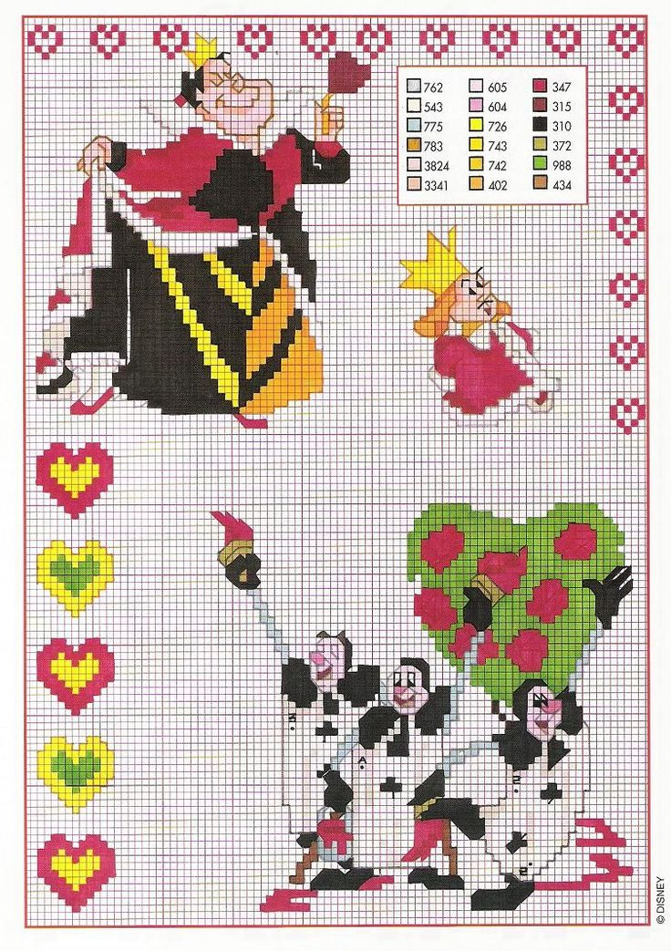 http://libertagiadinero.wordpress.com/Alice in Wonderland Disney crosstitch patterns full colour