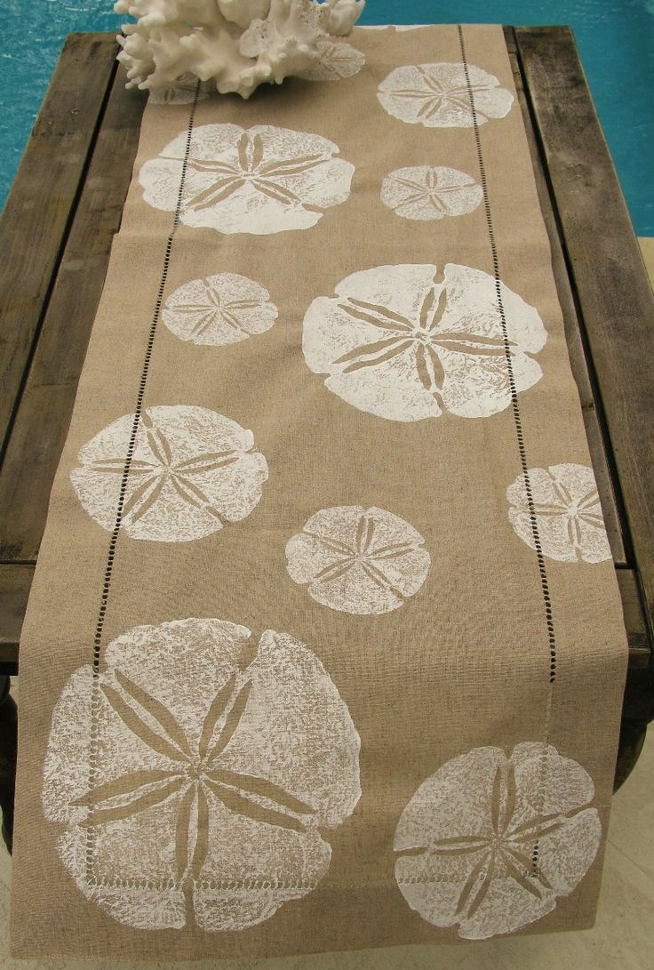 White Sand Dollar on Natural Linen Runner: Beach Decor, Coastal Decor, Nautical Decor, Tropical Decor, Luxury Beach Cottage Decor