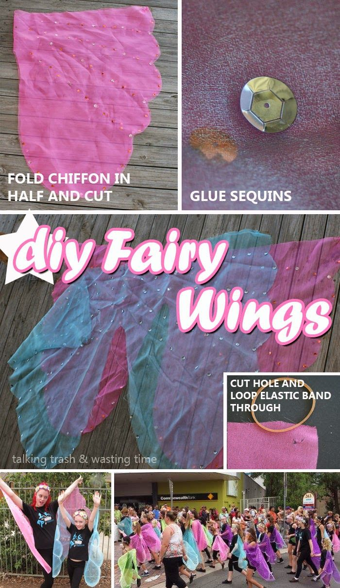 DIY how to make cheap east kids fairy wings for group, party or school concert, no sew tutorial, under $5 per costume