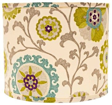 Pea And Teal Floral Drum Lamp Shade