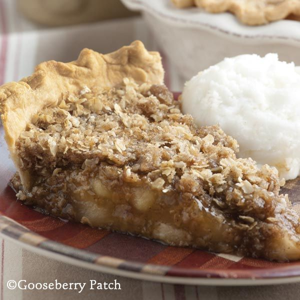 Apple Crisp Pie   21-oz. can apple pie filling  9-inch deep-dish pie crust  1/2 c. brown sugar, packed  1/2 c. sugar  1 c. quick-cooking oats, uncooked  1 T. cinnamon  1/4 c. butter, sliced  Pour apple pie filling into pie crust. In a separate bowl, combine sugars, oats and cinnamon. Sprinkle over top; dot with butter. Bake at 375 degrees for 30 minutes. Serves 8.