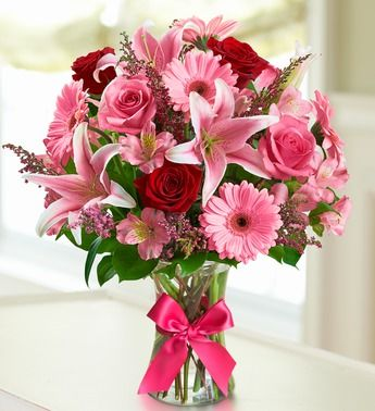 Fields of Europe™ Romance- #roses, #lilies, Gerberas, alstroemeria, calcynia and salal arranged in a stylish clear glass gathering vase accented with a satin ribbon $49.99- $69.99 #bouquets