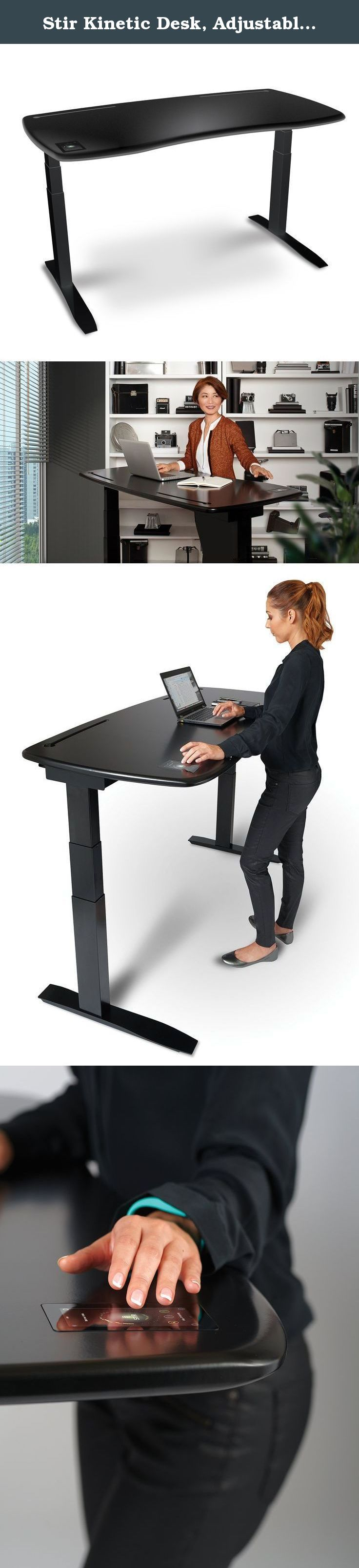Stir Kinetic Desk, Adjustable Standing Desk with Wi-Fi, Bluetooth, built-in app and touchscreen, compatible with Fitbit - (Black). The Stir Kinetic Desk is the first ever smart, adjustable standing desk, designed to make sure users get the fullest benefit of standing more while working. The desk uses technology to make it effortless to use, more engaging, and to provide users with data to track how much they sit and stand and how many extra calories they burn. The desk has won numerous...