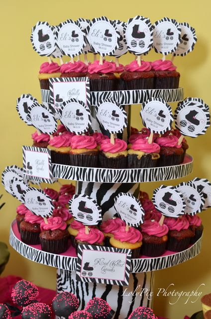 Cupcakes At A Hot Pink Zebra Baby Shower #babyshower #zebra