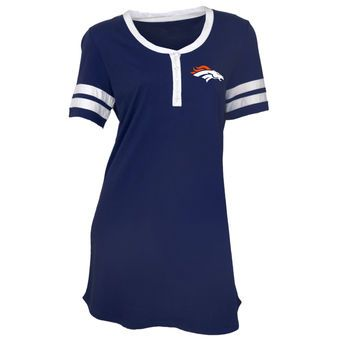 Women's Concepts Sport Navy/White Denver Broncos Bolt Tri-Blend Nightshirt