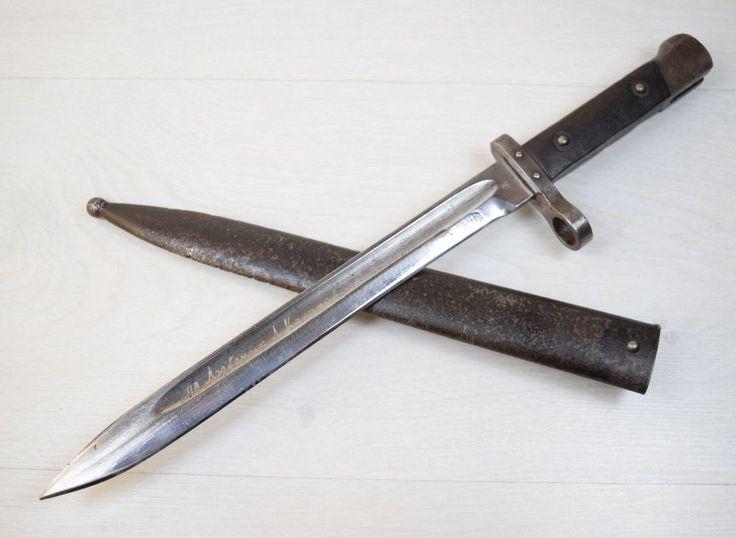 WWII Model 1888 Steyr OE WG Maker Mark Austrian Knife Metal Sheath Mannlicher