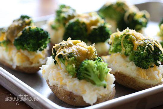 Brócoli y queso Patatas Dos veces al horno