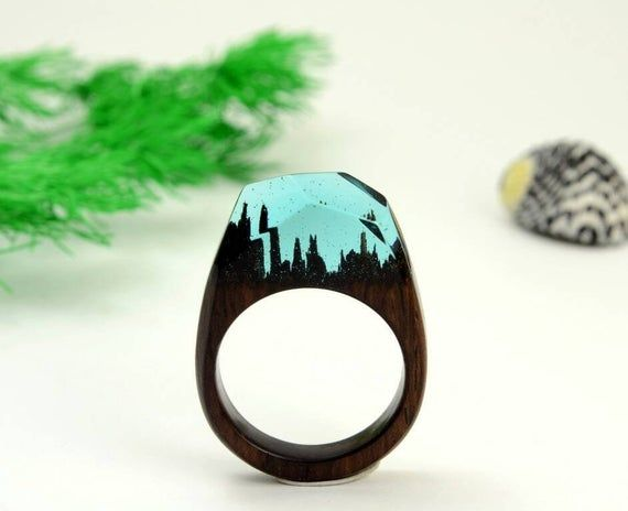 Wood jewelry Women wood rings Blue resin ring Blue crystal ring gift for her to order any size Mountain resin Ring Black wood ring