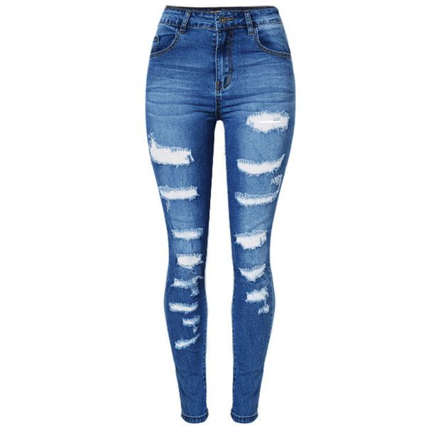 Patch Pocket Ripped Light Wash Slim-Leg Mid-Rise Jean (46 AUD) ❤ liked on Polyvore featuring jeans, pants, destroyed jeans, blue jeans, slim leg jeans, destructed jeans and blue ripped jeans
