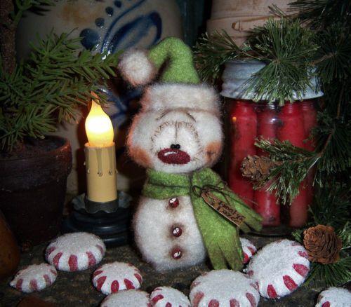 "Primitive Frosty Ornament Winter 6"" Snowman Doll ★ Vtg Patti's Ratties Bear"
