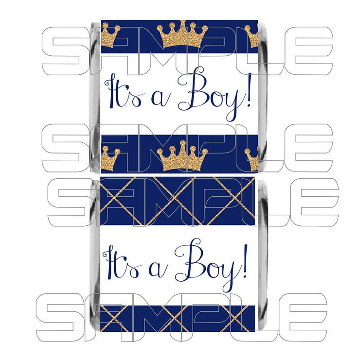 It's a Boy Mini Candy Bar Wrappers, It's a Boy Mini Chocolate Wrappers, Prince Baby Shower, Royal Baby Shower Candy, Royal Blue Baby Shower by MunchDoodles on Etsy