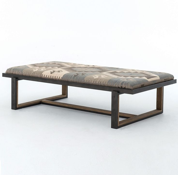 Eclectic Iron and Kilim Upholstered Coffee Table Ottoman | Zin Home