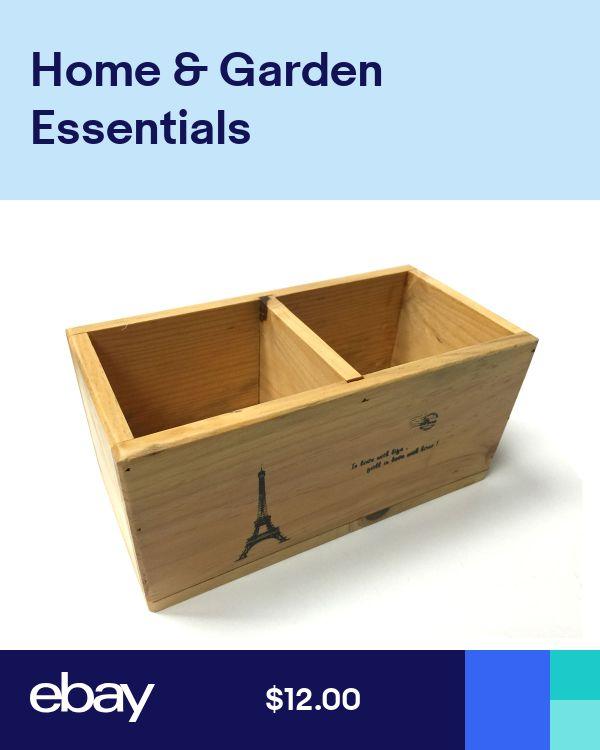 DIY Woodworking Ideas Wood Wooden Desk Organizer Desktop Office Pen Pencil Holder 2 Compartment